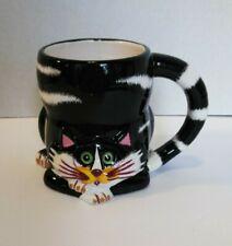 J. Summer Coffee 3D Mug Cup Ceramic Black White Fat Cat  Vintage  Ganz