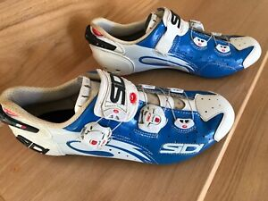 SIDI Wire Carbon Sole, 3-bolt, Road Cycling Shoe, size EU 42, Blue/White, Nice
