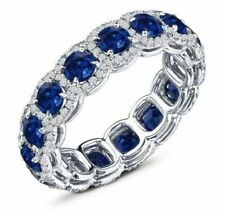 New Blue & White Round Cubic Zirconia 6.10 Cz Wedding Band 925 Sterling Silver