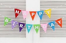 Rainbow Happy Birthday Party Banner/ Triangle Flags For Dessert Table Decoration