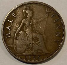 1936 Great Britain GB UK England KGV Half Penny Coin #A