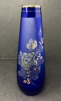 Vintage Lefton Cobalt Blue Hand Blown Satin Glass Works Bud Vase w/ Gold Roses