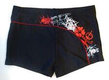Herren Boxer Badehose Retro in schwarz/rot Größe  5 - 8 ( M - XXL ) - NEU