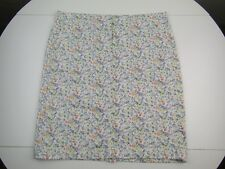 J Jill Live In Chino Womens Cotton Blend Floral Knee Length Skirt sz 8 Missy