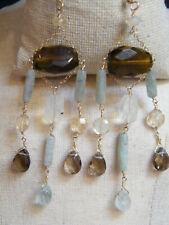 EARRINGS Crystals 3 Dangle Drop 14k Gold Fld Topaz Jadeite Rose Quartz Tabra sty