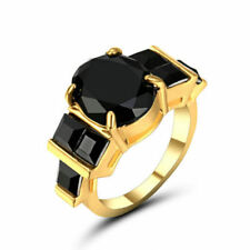 US SELLER 6.7ct Oval ONYX BLACK Wedding Engagement Ring YELLOW Gold SIZE 6