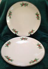 3 TRIOMPHE (TR12) HOLLY & RED BERRIES CHRISTMAS DINNER Plates PLATINUM Trim USA