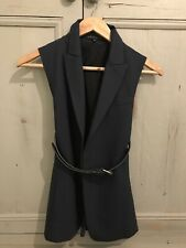 Brand New Authentic Theory Waistcoat With Belt In Navy Size 0