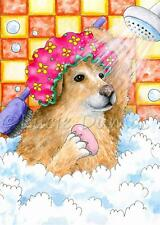 ACEO art print from art painting Dog 129 Golden Retriever Bath funny by L.Dumas