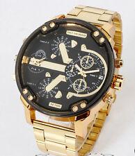 Fashion Gold Men's Stainless Steel Mens Calendar Quartz Big Case Wrist watch