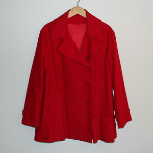 VTG Women's Red Wool Blazer Jacket  XL 16-18 Double Breasted Career