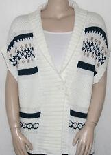 NEW Bandolino Denim LARGE Short Sleeve Fair Isle Cardigan WHISPER WHITE COMBO