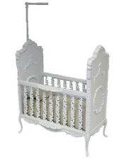 Dollhouse Bespaq Sweet Wreath White Wood Baby Crib 1:12 Doll House Miniatures