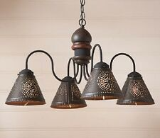 PRIMITIVE ESPRESSO WOOD CAMBRIDGE CHANDELIER w/ 4 Punch TIN Shades/ FREE SHIP