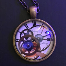 Steampunk with Gears and Clock Vintage Bronze Pendant Necklace