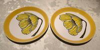 "Lot of 2 MIKASA Duplex Yellow Daisy Bread / Salad Plates  by Ben Seibel - 7 1/2"""