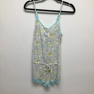 Victorias Secret Womens Romper Multicolor Blue Floral Stretch Drawstring Lace S