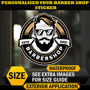 PERSONALISED Barber Shop Vintage Sticker/Window Decal Hipster Wall Art
