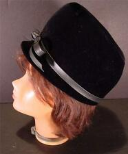 Women'S Vintage Black Velvet Hat With Band And Bow