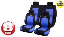Universal Car Rally Sport Black Blue Seat Covers Washable Airbag Safe 8 Pce Set