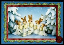 Christmas Susan Wheeler Bunny Rabbits Choir Singing Birds - Greeting Card