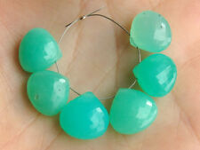 Green Chrysoprase Faceted Heart Briolette Semi Precious Gemstone Beads 7-8mm.