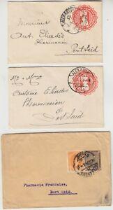 EGYPT 1926 3x items 2) postal envelopes 1) wrapper up-rated ALEXANDRIA-PORT SAID