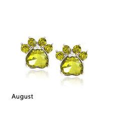 Ohrstecker Ohrring Hundepfote silberfarbiges Metall Zirkonia grün Monat August