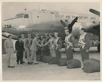 WWII 1940's USAAF  1st Air Transport Unit airplane & crew 8x10 Official Photo