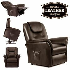 Windsor Electric Reclining Armchair Recliner Lounge Chair Real Leather Brown