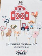 FARM BARN ANIMAL THEME BIRTHDAY CAKE TOPPER SET. PERSONALISED CUSTOM NAME & AGE