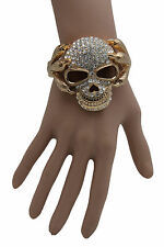 Women Silver Beads Gold Metal Cuff Fashion Bracelet Skeleton Skull Claws Jewelry