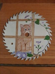"Hand Painted 7"" Saw Blade Cat"