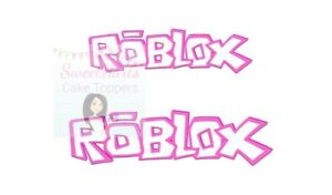 ROBLOX LOGO PINK X2 CAKE TOPPER EDIBLE ICING PRINT CAKE DECORATIONS FAST POST