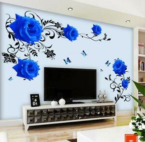 Wall Stickers Blue Rose Vine Floral Wall Tattoo Art Decal Home Decor Living Room