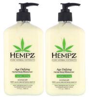 Hempz AGE DEFYING Herbal Body Moisturizer After Tan Lotion LOT OF 2 - 17 Oz EA