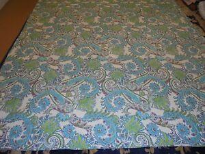 Pretty Aqua & Green Paisley Pattern Quilt