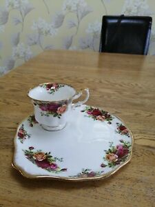 Royal Albert OLD COUNTRY ROSES large tv / tennis set: first and old back stamp