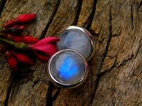 Silver Studs Genuine 925 Sterling Silver Rainbow Moonstone Omega Stud Earrings