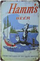 """HAMM'S HAMMS BEER LAKE BEAR RETRO TIN METAL BEER SIGN BAR PUB MAN CAVE 8x12"""" NEW"""