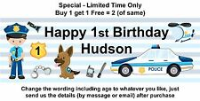 Birthday Party Banner Decoration- PERSONALISED - Any Age - POLICE, CAR AND DOG