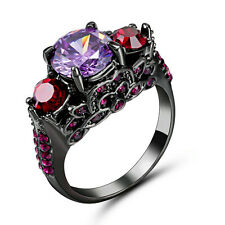 5.80/ct Purple Amethyst Engagement Ring Size 8 10KT Black Gold Filled Jewelry