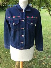 M&S navy blue denim jacket with embroidery.for 11 years, chest 71cm height 145cm