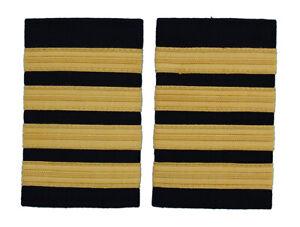 Pilot Captain,Gold Strips Epaulettes,Pilot Airline,Merchant Marine 4 Bars