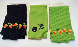 Lot Of 3 Black Green Halloween Hand Dish Towels Candy Corn Pumpkin