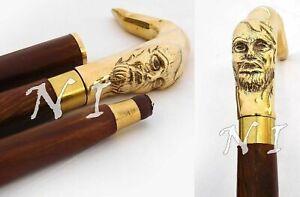 Vintage Human Face Brass Vintage Handle Walking Stick Shaft Walking Cane Men