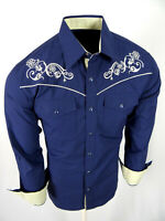 Mens Western Rodeo Cowboy Shirt Blue Embroidered with Floral Shoulders Snap Up