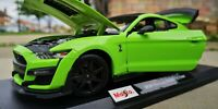 Maisto 1:18 Scale Ford Mustang Shelby GT500 Green Diecast Model Car SEE VIDEO!!!