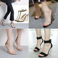 Women Block High Heels PVC Ankle Strap Sandals Clear Transparent Shoes Party #
