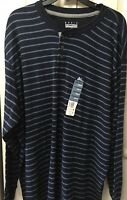 Mens Shirt Big & Tall Long Sleeve Navy Blue Pin Stripe Size 2XLT Winter Pullover
